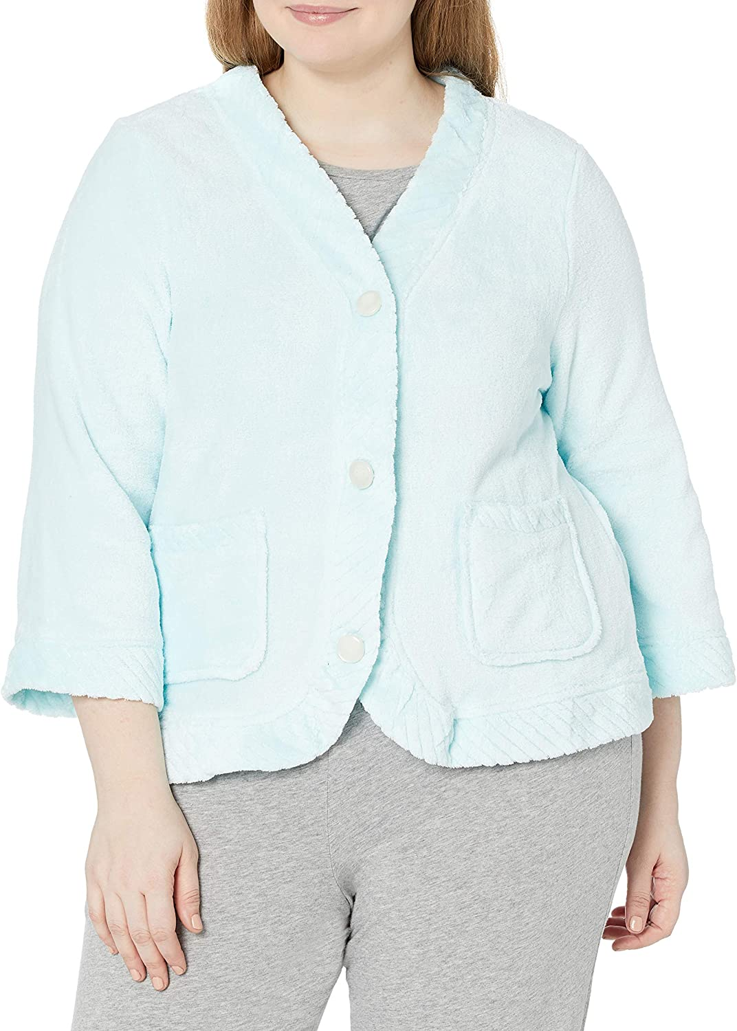 Casual Moments Women's Size Bed Jacket Velcro Closings Plus