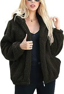 Caracilia Women's Fashion Hooded Long Sleeve Zip Up Faux Shearling Shaggy Oversized Coat Jacket with Pockets