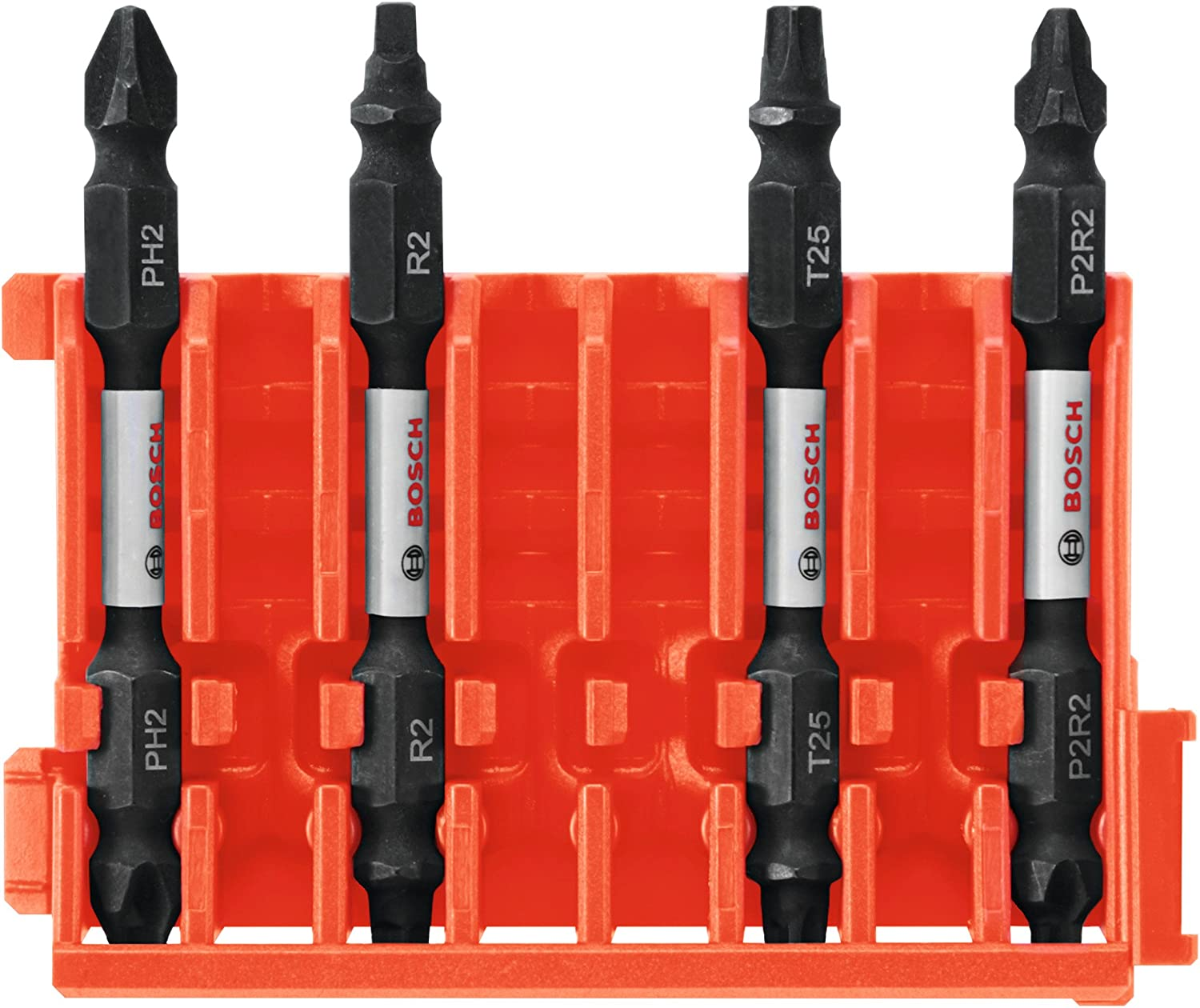 Bosch CCSDEPHV2504 4Piece Impact Tough Phillips 2.5 In Double-Ended Bits with Clip for Custom Case System