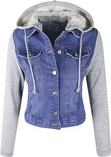 makeitmint Women's Detachable Hooded Contrast Denim Jean Jacket w/Pockets