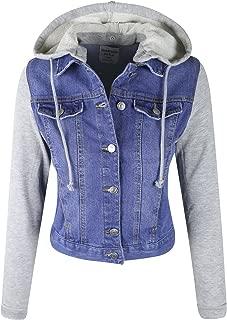 Women's Detachable Hooded Contrast Denim Jean Jacket w/Pockets
