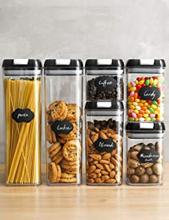 Food Storage Containers, Airtight Containers Set with Easy Lock Lids, Leakproof Durable Food Grade Kitchen Canisters Pantr...
