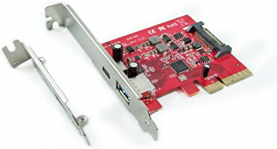Ableconn PU31-1A1C USB 3.1 Gen 2 (10 Gbps) Type-C & Type-A PCI Express (PCIe) x4 Host Adapter Card - Dual USB3.1 10Gbps with One USB-C and One USB-A - Support Mac OS X 10.12-10.14 and Windows 10/8