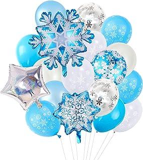 20pcs Snowflake Foil Balloons Frozen Birthday Party Winter Theme Balloons Shining Star Aluminum Balloons for Baby Shower K...