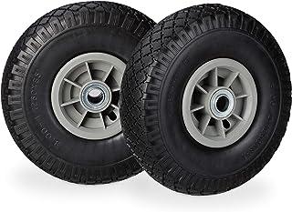 comprar comparacion Relaxdays 2X Ruedas de Carretilla, Neumáticos de Goma, 3.00-4, Eje de 20mm, hasta 80 kg, 260x85 mm, Negro-Gris