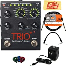 DigiTech TRIO+ Band Creator + Looper Pedal Bundle with Power Supply, Instrument Cable, Patch Cable, Picks, and Austin Bazaar Polishing Cloth