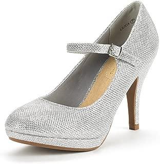 DREAM PAIRS Women's Lilica Mary-Jane Close Toe Classic Stiletto Heel Dress Pump Shoes