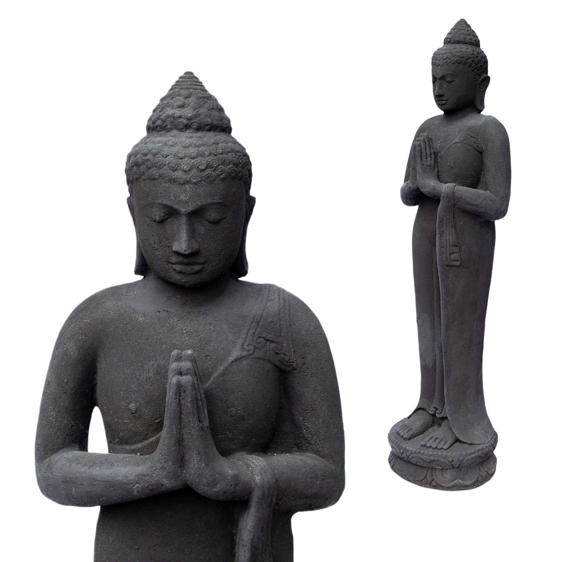 FaHome - Figura de Buda (piedra, para jardín, arena de lava, 120 cm, resistente a las heladas, fundición maciza), color negro: Amazon.es: Hogar