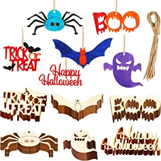 Boao 60 Pieces Halloween Wooden Ornaments Hanging Embellishments Halloween Wood Tags Gift Tags Decorative Wooden Cutouts with Twine for Halloween Party Decorations (Style Set 1)
