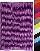 MSV Microfiber Chenille Bath Mat, Purple, 60 x 90 cm