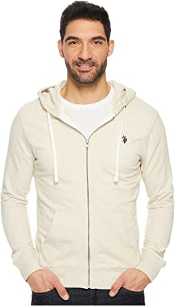 Slim Fit Solid French Terry Hooded Jacket
