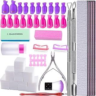 SIQUK Kit de Uñas Removedor el Esmalte Almohadillas de Algodón de Limpieza Clip de Removedor Separador de Uñas Cepillo...