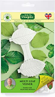 Multi Leaf Veiner Silicone Sugarpaste Icing Mold, Flower Pro by Nicholas Lodge for Cake Decorating, Crafts, Cupcakes, Sugarcraft, Candies, Cards and Clay, Food Safe Approved, Made in The UK