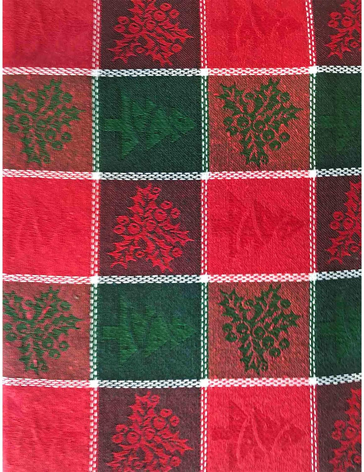 Lintex Christmas Holly Patchwork Cotton Fabric Napkins Set of 4 Napkins Red and Green Holly Grid Jacquard Jacquard 100/% Cotton Weave Kitchen and Dining Room Napkins