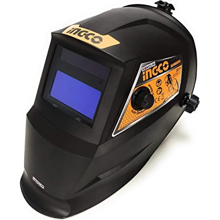 Homdum 92 x 42 mm Auto Darkening Welding helmet with on/off variable shade control switch Ingco fully automatic solar cell powered safety Hood ABS Plastic for ARC MMA MIG TIG welding.