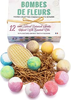 French Bath Bombs Best Gift for Women and Girls 12-100% all Natural - Fresh Fizzy Floral Essential Oils Scents - Rose Lavender Mint Chamomile + Shea Butter + Aloe Best Vegan Spa Day Kit (Dozen)