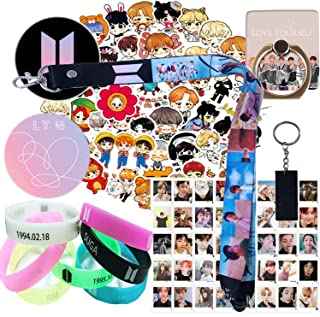 SportsLiking Fans Set - 1 Pack Lanyard Keychain, 7 Pack Silicone Bracelet, 1 Pack Phone Ring Stand, 1 Pack Keychain,40 Pack Lomo Card, 63 Pcs Laptop Stickers, 2 Pack Button Pin