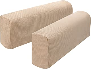 Hanhao Armrest Cover Ultra Thick and Soft Spandex Stretch Pixel Arm Cover For Recliners Sofas Chairs Loveseats Elastic Anti slip Furniture Armrest Protector For Couch set of 2 (Beige red)
