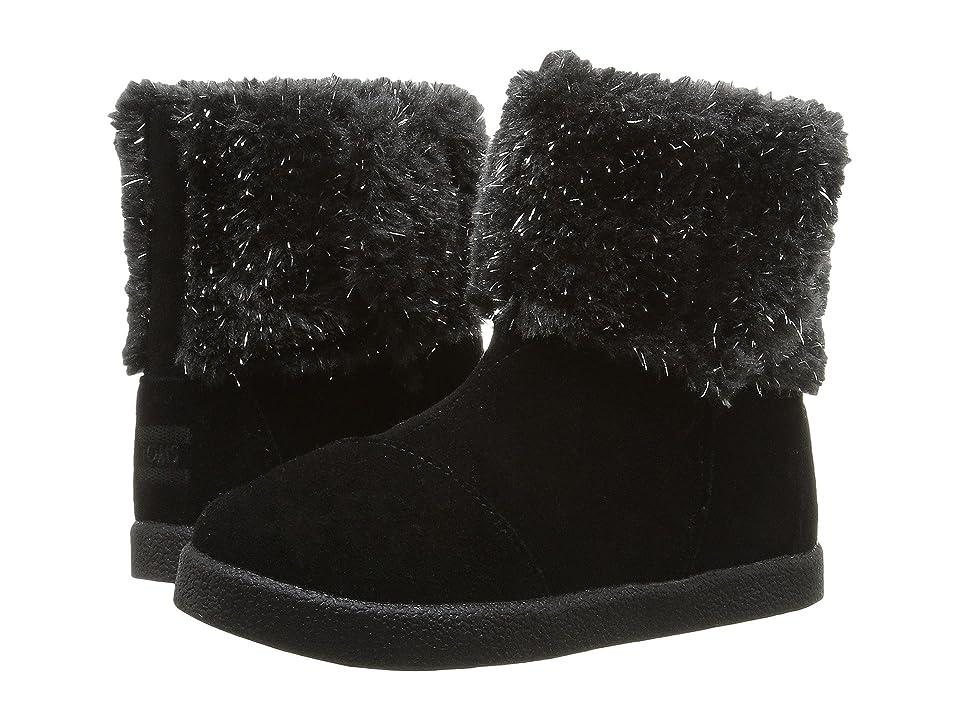 TOMS Kids Nepal Boot (Infant/Toddler/Little Kid) (Black Suede/Metallic Faux Fur) Girls Shoes