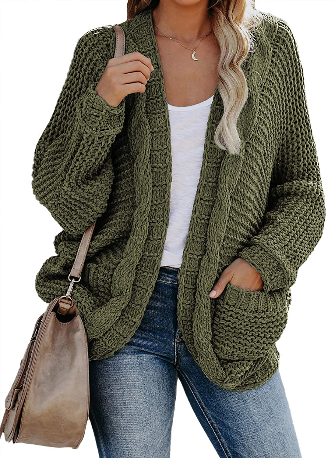 Aleumdr Women Open Front Long Sleeve Chunky Knit Cardigan Sweaters Outwear with Pockets