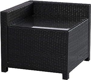 MCombo Wicker Patio Sectional Indoor Outdoor Sofa Corner Table, Black