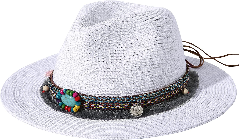 Lanzom Women Retro Style Wide Brim Straw Packable Roll up Hat Fedora Beach Sun Hat