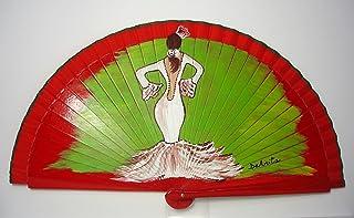 "Ventaglio Spagnolo/Ventaglio dipinto a mano/Ventaglio flamenco/Ventaglio di legno""Flamenca por soleá"""
