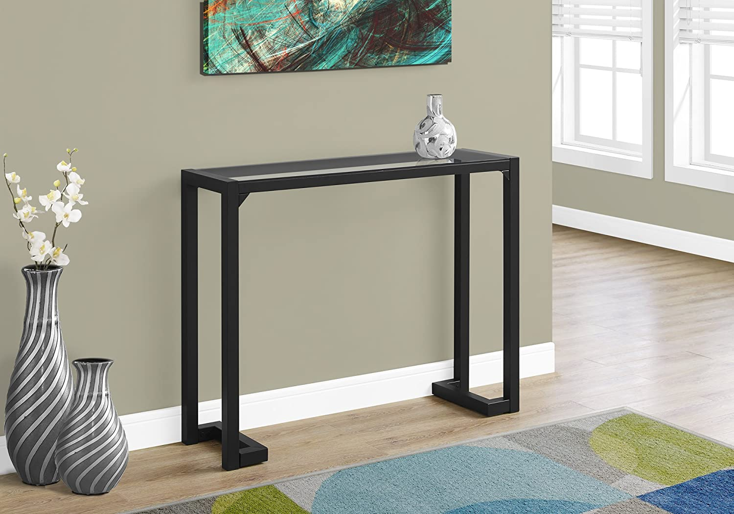 Monarch Specialties Accent Table - 42  L Black Tempered Glass Hall Console
