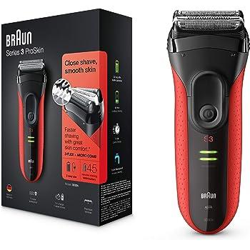 Braun Series 3 ProSkin 3030s Elektrorasierer, mit Präzisionstrimmer, wiederaufladbarer und kabelloser Rasierer Herren, rot