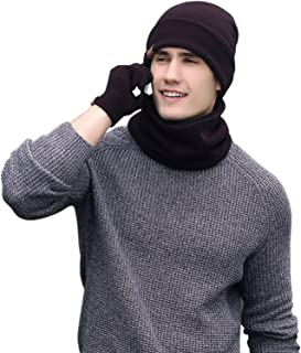 Aispark Winter Hat Scarf and Gloves Set, Winter Knitted Beanie Hat Scarf Set Touch Screen Gloves for Men Women