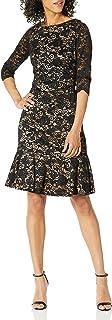 Eliza J womens Lace Flounce Hem Dress Casual Dress