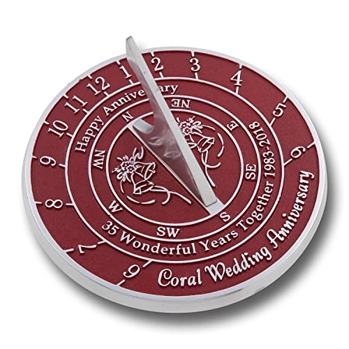 1a21f1ad72f8a The Metal Foundry 35th Coral Wedding Anniversary 2018 Sundial Gift Idea is  A Great Present for
