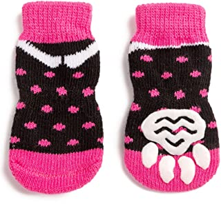 Pet Heroic Anti-Slip Knit Dog Socks&Cat Socks with Rubber Reinforcement, Anti-Slip Knit Dog Paw Protector&Cat Paw Protector for Indoor Wear, Suitable for Small&Medium&Large Dogs&Cats