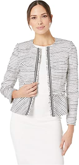 Boucle Open Jacket with Frayed Trim