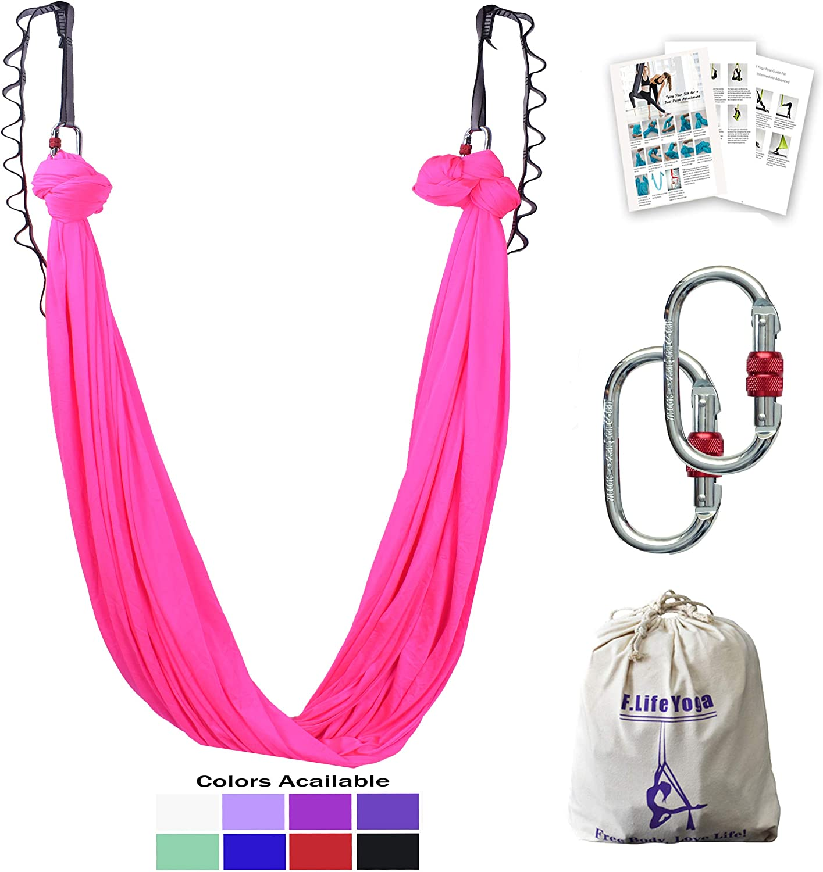 Aerial Yoga Hammock 5.5 yards Premium Aerial Silk Fabric Yoga Swing for Antigravity Yoga Inversion Include Daisy Chain ,Carabiner and Pose Guide