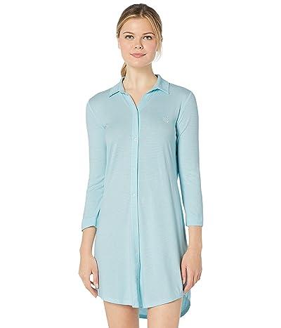 LAUREN Ralph Lauren 3/4 Sleeve Short Sleepshirt (Aqua Stripe) Women