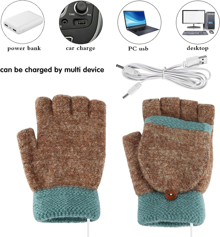 USB Heated Gloves Women's & Men's Winter Warmer Gloves Mitten Full & Half Fingerless Laptop Gloves for Working Study