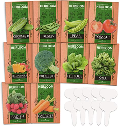 Heirloom Vegetable Seeds - Non GMO Vegetable Seeds for Planting Home Garden, Beans, Carrots, Peppers, Cucumber, Kale,...