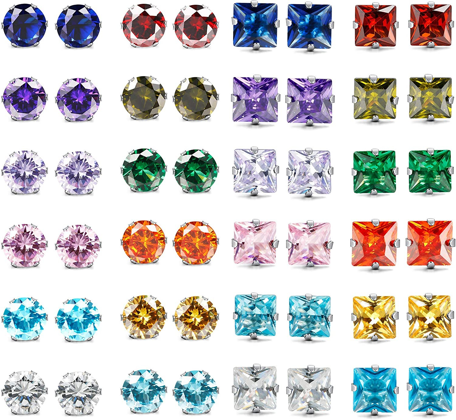 XCOIN 24 Pairs Stainless Steel CZ Stud Earrings for Women Men Round Square Cubic Zirconia Birthstone Earrings Piercing Set Jewerly Gifts