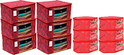 Heart Home Metallic Printed Non Woven 6 Piece Saree Cover/Cloth Wardrobe Organizer and 6 Pieces Blouse Cover Combo Set (Red) - CTHH17796