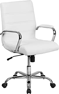 Flash Furniture Mid-Back White Leather Executive Swivel Office Chair with Chrome Base and Arms