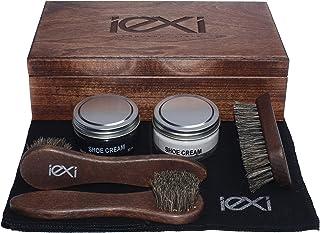 IEXI Ethic Kit – Scatola in legno per casa o regalo per la cura e manutenzione delle scarpe e/o accessori in pelle contene...