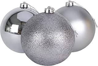 3-150mm Extra Large Baubles - Shiny, Matte & Glitter Design - Christmas Decorations (Graphite Grey)