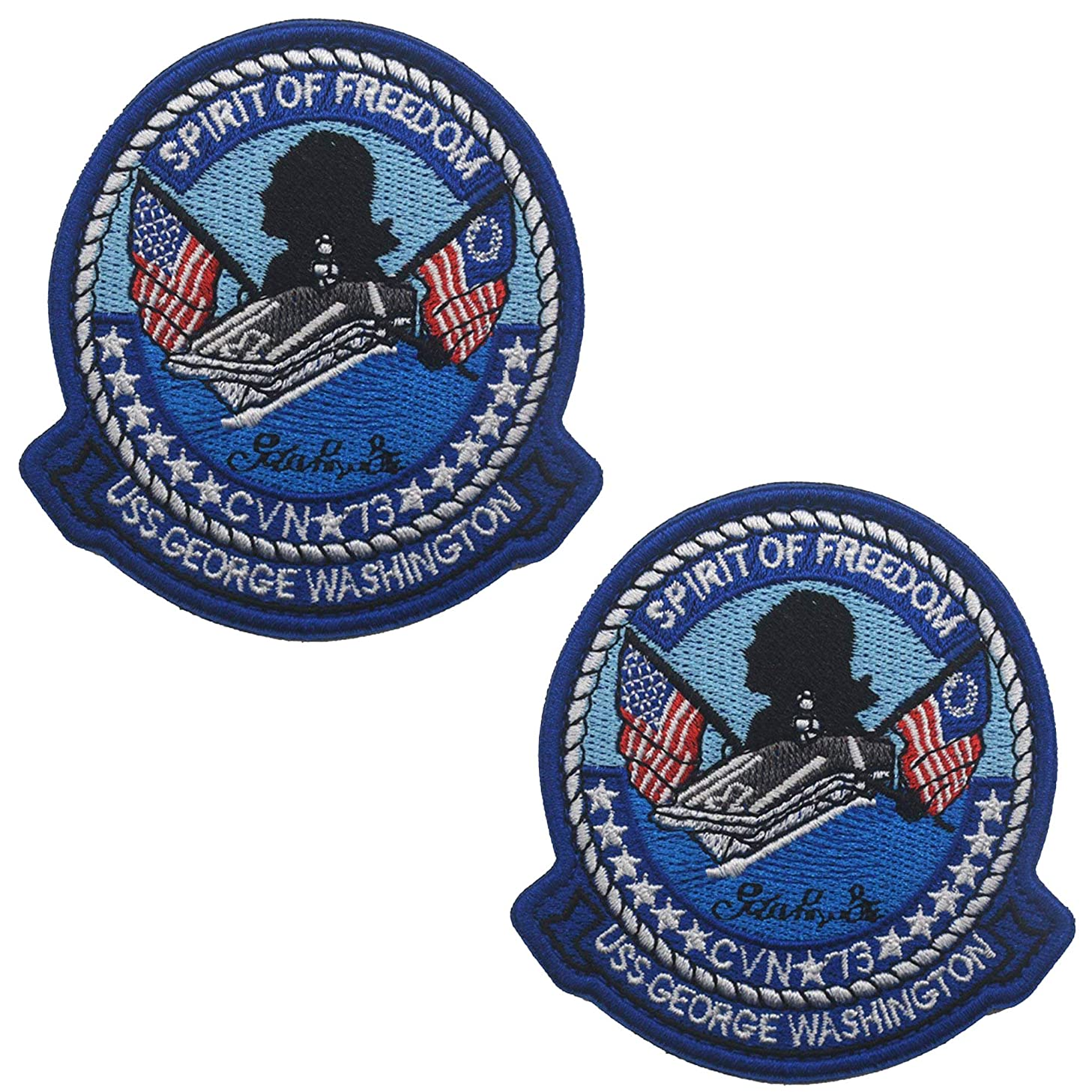USS George Washington - Spirit of Freedom - CVN 73 Embroidered Patch Applique Badge with Hook and Loop Backing 2PCS