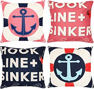 Munzong Decorative Nautical Anchors Throw Pillow Covers 18 x 18 Inch Set of 4, Pink and Black Cotton Linen Outdoor Cushion Cover Square Pillowcase for Car Sofa Bed,Birthday Party Home Decoration Gift