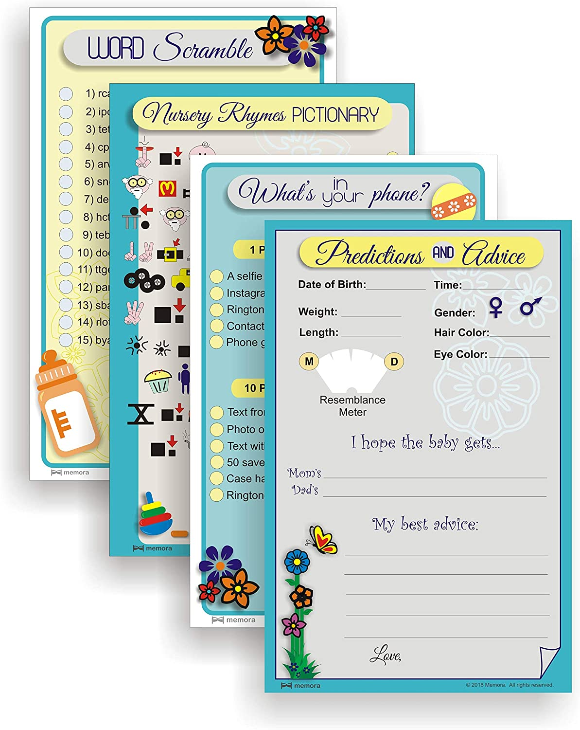 Baby Shower Games with Free Party Planning Guide - Set of 4 Games in Neutral Designs, Large 8.5  x 5.5  Cards, for 25 Guests or Teams.