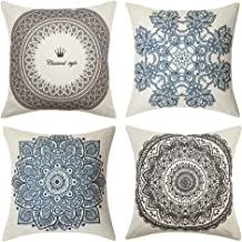 Pack of 4 MUILEE Decoretive Indian Hippie Bohemian Psychedelic Peacock Mandala Throw Pillow Covers Damask Pattern Cushion Case Shell Pillow Case for Car Sofa Bed Couch