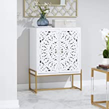 """Deco 79 45845 Square Traditional Style Carved Wood White Cabinet on Metallic Gold Iron Stand, 31"""" x 42"""""""
