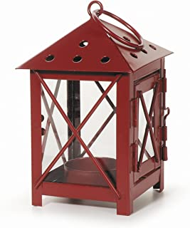 Darice 5228-12RED Metal Lantern, 3 by 3 by 5.5-Inch, Red
