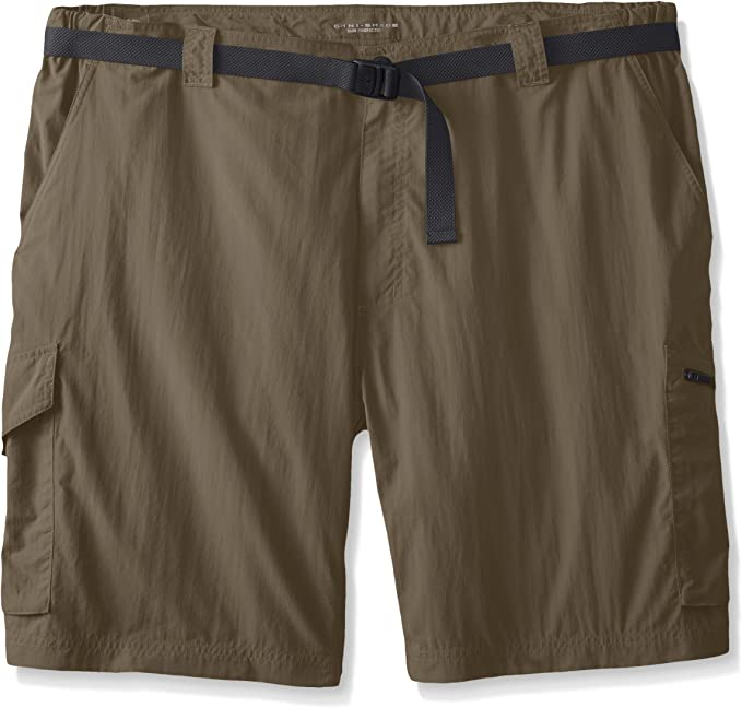 This is a close-up image of a cargo shorts with a black belt included in dark brown color.